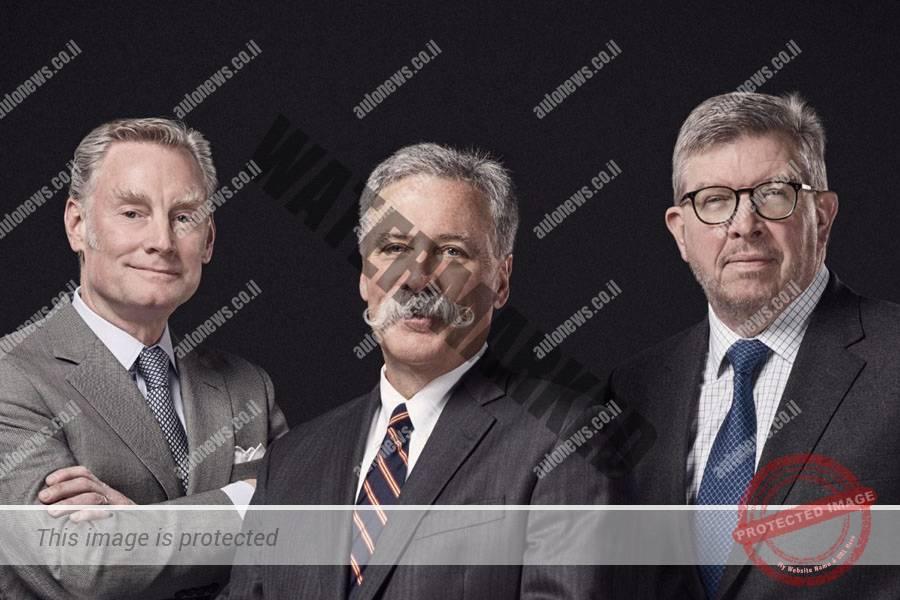 הטריומוויראט החדש: צ'ייס קארי (במרכז) יוביל את פורמולה 1 לעתיד עם רוס בראון (מימין) ושון בראצ'ס (ליברטי מדיה)