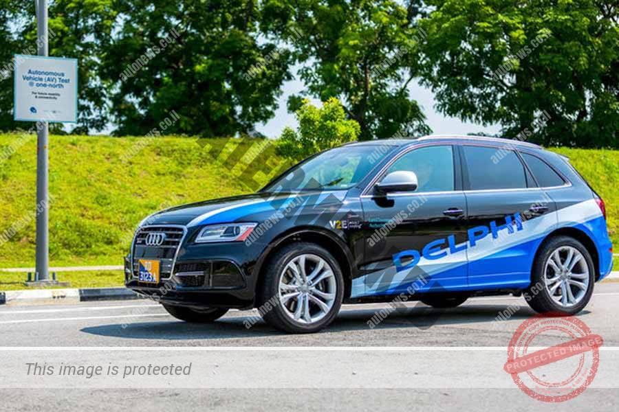 מכונית מצוידת בטכנולוגיית נהיגה אוטונומית של דלפי במתקן הניסוי בסינגפור (דלפי)