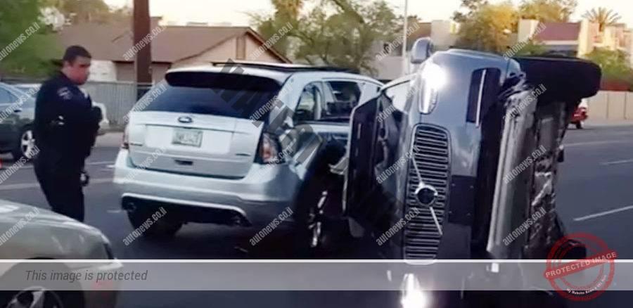 וולוו XC90 אוטונומית והפוכה בעקבות התאונה (צילום מסך)