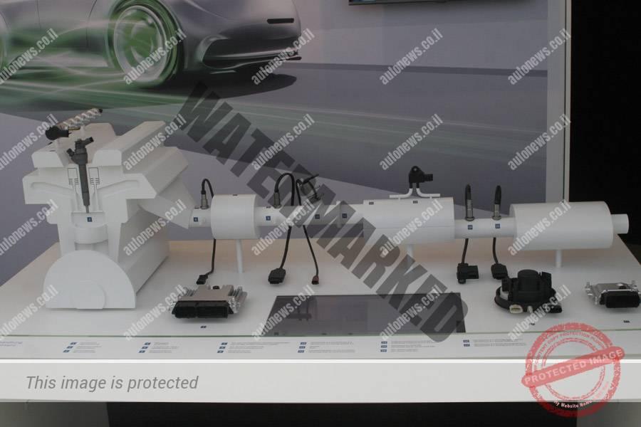 """דגם של מערכת פליטה ממנוע דיזל שהוצגה ע""""י בוש (אוטוניוז)"""