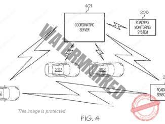 הגרפיקה מציגה כלי רכב אוטונומי, חיישני דרך, ומערכת בקרת דרך המתקשרת עם שרת מתאם כדי להחליט באופן דינמי על סכנות פוטנציאליות ושליטה האם כלי רכב בנהיגה עצמית יופעלו אוטונומית או יעבירו את השליטה לנהג/ת (IBM).