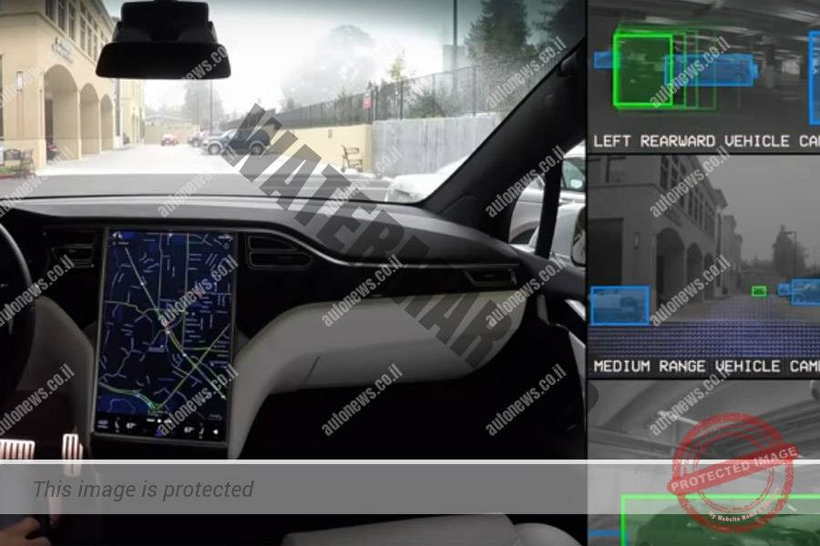 מערכת נהיגה אוטונומית בטסלה S מבוססת על יכולת ראיה בלבד (יוטיוב, צילום מסך)