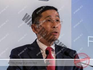 הירוטו סאיקואה, ה-CEO של ניסאן במסיבת עתונאים אתמול (ניסאן)