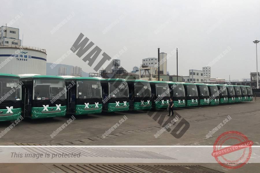 """שורת אוטובוסים של יוטונג ממתינים למשלוח לישראל (יח""""צ)"""