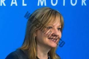 """מרי בארה, יו""""ר ו-CEO של ג'נרל מוטורס, באסיפה אתמול (Photo by Steve Fecht for General Motors)"""