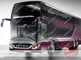 Setra S 531 DT TopClass 500, Exterieur, Viola Pyxis Met LB065, OM 471 mit 375 kW (510 PS), 12,8 L Hubraum, 8-Gang Mercedes PowerShift, Sideguard Assist, LED-Scheinwerfer, Länge/Breite/Höhe: 14.000/2.550/4.000mm, Bestuhlung: 1/78.   Setra S 531 DT TopClass 500, Exterior, Viola Pyxis Met LB065, OM 471 rated at 375 kW/510 hp, displacement 12.8 l, 8-speed Mercedes PowerShift transmission, Sideguard Assist, LED Headlamps, length/width/height: 14000/2550/4000 mm, seating: 1/78.