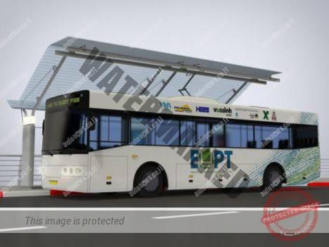 הדמיה של אוטובוס של אלביט בתחנה שבה יש גם מתקן טעינת חשמל (אלביט)