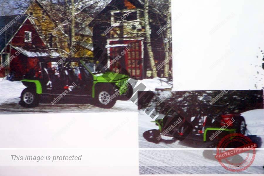 תומקאר TE44 למטרות תיירות, עם גלגלים ומצויד בשרשרות לנסיעה בשלג, נקודת התורפה של התומקאר על גלגלים