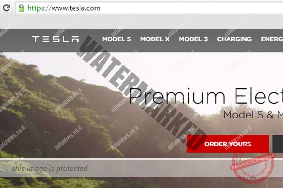 עמוד הבית של טסלה עם הכתובת החדשה (צילום מסך)