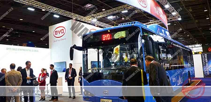 אוטובוס חשמלי של BYD בתערוכה בפאריס (BYD)