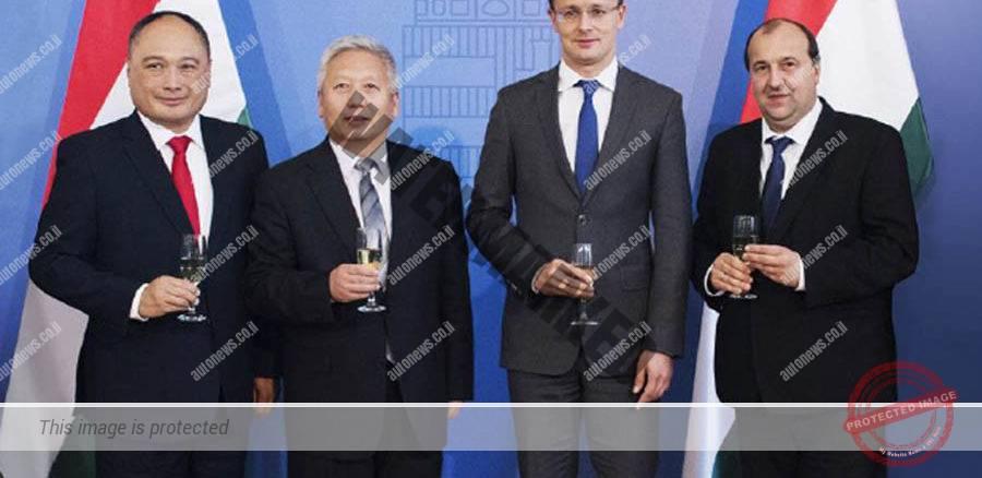 נציגי BYD והונגריה בטקס חתימת חוזה להקמת המפעל (BYD)