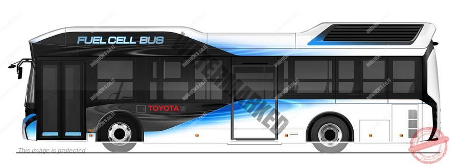 אוטובוס תא הדלק החשמליים של טויוטה. מיכל המימן על הגג (טויוטה)