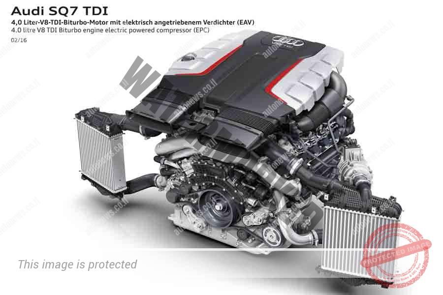 """מנוע הדיזל 4.0 ל', 435 כ""""ס, עם שני מגדשי טורבו וקומפרסור חשמלי (אודי)"""