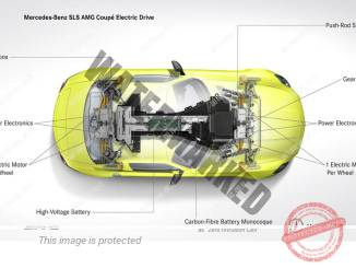 איור המערך החשמלי והמכאני של ה-SLS החשמלית (דיימלר)