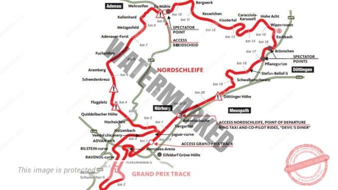 החלק העליון הוא ה-Nordschleife, מסלול המרוצים המאתגר בעולם. בחלק התחתון מסלול הגרנד פרי עליו התחרה ברוך (נרבורגרינג)