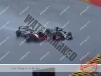 ג'וני צ'קוטו (משמאל) אחרי שפגע במכוניתו של ניסני ושתי המכוניות גולשות לעבר גד הבטיחות (צילום מסך)