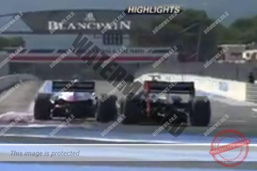 רוי ניסני במכונית הלוטוס (מימין) בישורת האחרונה מנסה לעקוף את וואקסיוויה לפני קו הגמר (צילום מסך)
