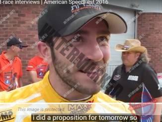 אלון דאי, אחרי שסיים במקום שלישי במרוץ הראשו ןשל סוף השבוע בברנדס האץ' (צילום מסך)