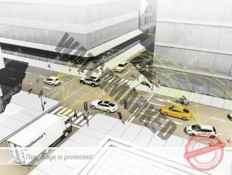 איור מערכת V2X של קונטיננטל החיונית לתפעול מכוניות אוטונומיות (קונטיננטל)