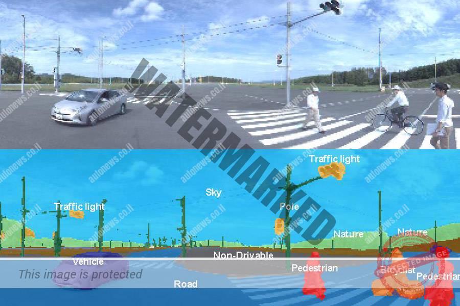 למעלה תמונת העולם הריאלי, למטה פיענוח התמונה באמצעות neural network (דנסו)