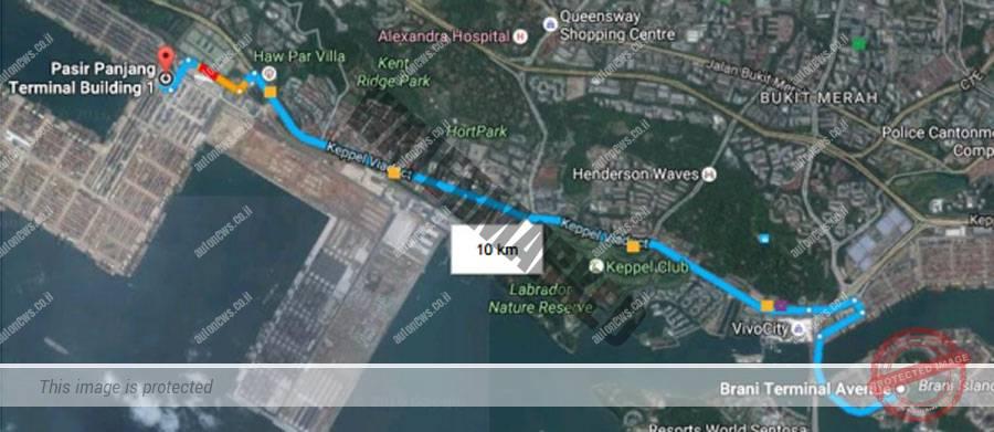 מסלול שיירות המשאיות המתוכנן בין שני טרמינלים בנמל סינגפור (PSA)