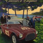 The 2017 Pebble Beach Concours d'Elegance Main Event Poster, by Barry Rowe, features Tom Peck's 1951 Ferrari 212 Export Touring Barchetta.